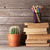 oude · boeken · houten · plank · koffiekopje · plant - stockfoto © karandaev