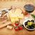 Italiaans · eten · voorgerechten · olijven · brood · specerijen · houten · tafel - stockfoto © karandaev