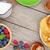 panquecas · framboesa · mesa · de · madeira · cópia · espaço · comida - foto stock © karandaev