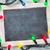 christmas chalkboard and lights stock photo © karandaev
