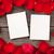 rosas · rojas · foto · marcos · pétalos · mesa · de · madera · textura - foto stock © karandaev