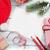 Natale · biglietto · d'auguri · tavolo · in · legno · top · view - foto d'archivio © karandaev