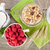 healty breakfast with muesli berries and milk stock photo © karandaev