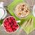 завтрак · мюсли · Ягоды · молоко · деревянный · стол - Сток-фото © karandaev