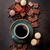 coffee cup chocolate and macaroons on old kitchen table stock photo © karandaev
