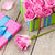 Valentines day card with gift box full of pink roses stock photo © karandaev