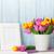 新鮮な · ピンク · チューリップ · 花束 · フォトフレーム · チューリップ - ストックフォト © karandaev