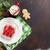 karácsony · vacsora · tányér · ezüst · étkészlet · fenyőfa · forró · csokoládé - stock fotó © karandaev