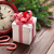 karácsony · ébresztőóra · ajándék · doboz · fenyőfa · ág · fa · asztal - stock fotó © karandaev