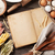 edad · receta · libro · mesa · de · madera · alimentos · madera - foto stock © karandaev