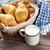 vers · croissants · mand · melk · houten · tafel · voedsel - stockfoto © karandaev