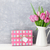 pink tulip flowers bouquet and gift box stock photo © karandaev