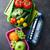 ランチ · ボックス · 野菜 · 果物 · 水筒 · 子供 - ストックフォト © karandaev