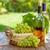 garrafa · de · vinho · branco · uvas · cesta · copo · de · vinho · isolado - foto stock © karandaev