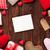 valentin · nap · üdvözlőlap · szívek · fényképkeret · fa · asztal · felső - stock fotó © karandaev