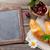 Blackboard · croissants · bessen · bloemen · koffiekopje · top - stockfoto © karandaev
