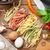 olasz · tészta · serpenyő · pesztó · mártás · tükörtojás - stock fotó © karandaev