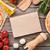 ピザ · プロシュート · トマト · キノコ · 木製のテーブル - ストックフォト © karandaev