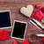 valentines day roses photo frames and champagne glasses stock photo © karandaev