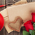 愛 · 手紙 · 帳 · 赤いバラ · コーヒーカップ · 木製のテーブル - ストックフォト © karandaev
