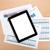tabletta · képernyő · papírok · számok · táblázatok · felülnézet - stock fotó © karandaev