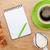 croissant · café · bloco · de · notas · caneta · fundo · café - foto stock © karandaev