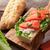 finom · lazac · szendvicsek · füstölz · lazac · hozzávalók · francia · kenyér - stock fotó © karandaev
