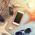 podróży · plaży · wakacje · kamień · smartphone · słuchawki - zdjęcia stock © karandaev
