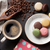 coffee chocolate and macaroons on old kitchen table stock photo © karandaev