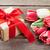 színes · tulipánok · ajándék · doboz · fa · asztal · felső · kilátás - stock fotó © karandaev