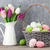 カラフル · チューリップ · 花束 · バスケット · イースターエッグ · 木製 - ストックフォト © karandaev