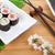 szusi · maki · szett · sakura · ág · bambusz - stock fotó © karandaev