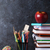 maçã · livro · óculos · preto · comida · escolas - foto stock © karandaev