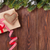 christmas tree branch with gift box and heart toy stock photo © karandaev