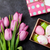 pink tulip flowers and easter eggs stock photo © karandaev