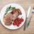 vesepecsenye · steak · rozmaring · koktélparadicsom · főzés · serpenyő - stock fotó © karandaev