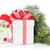 christmas gift box snowman and tree branch stock photo © karandaev