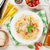 спагетти · пасты · белое · вино · помидоров · базилик · деревянный · стол - Сток-фото © karandaev