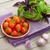 fresco · agricultores · tomates · manjericão · mesa · de · madeira · comida - foto stock © karandaev