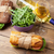 twee · sandwiches · salade · witte · wijn · houten · tafel · top - stockfoto © karandaev