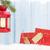 christmas candle lantern gift boxes and fir tree stock photo © karandaev