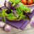 fresco · agricultores · manjericão · tomates · mesa · de · madeira · comida - foto stock © karandaev