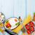 トマト · バジル · オリーブオイル · 木製のテーブル · 先頭 - ストックフォト © karandaev