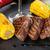 ステーキ · 焼き · ジャガイモ · トウモロコシ · サラダ · 赤ワイン - ストックフォト © karandaev
