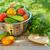 fresche · maturo · pomodori · tavolo · in · legno · legno · verde - foto d'archivio © karandaev