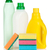 plastic bottles of cleaning products and sponges stock photo © karandaev