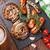 vitela · salsichas · prato · cerveja · pretzel · toalha - foto stock © karandaev