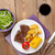 steak with grilled potato corn salad and red wine stock photo © karandaev