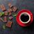 kávé · piros · csésze · közelkép · fából · készült · kávé - stock fotó © karandaev