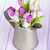 紫色 · チューリップ · 花束 · じょうろ · 木製のテーブル · 花 - ストックフォト © karandaev